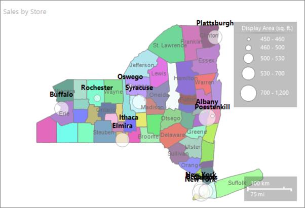 Report Builder Map City Names