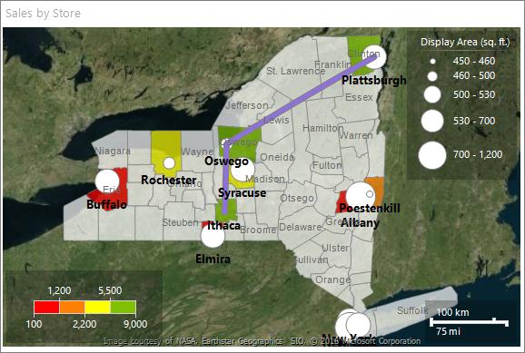 Tutorial Map Report Report Builder Microsoft Docs - Us counties map highlight demo
