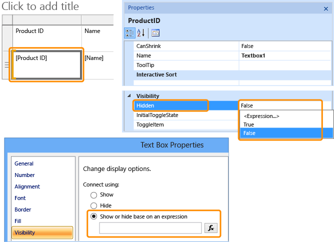 Hide an Item (Report Builder and SSRS) - SQL Server Reporting