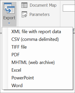 Export Reports (Report Builder and SSRS) - SQL Server Reporting
