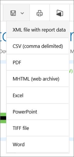 Reporting Services web portal Export