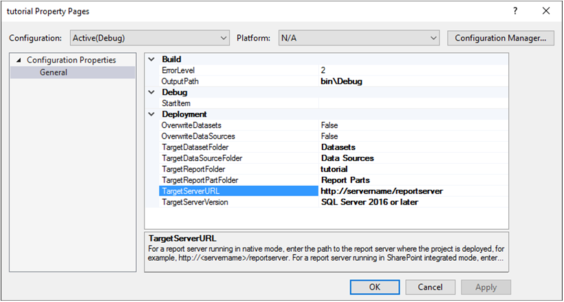Project Property Pages Dialog Box - SQL Server Reporting Services