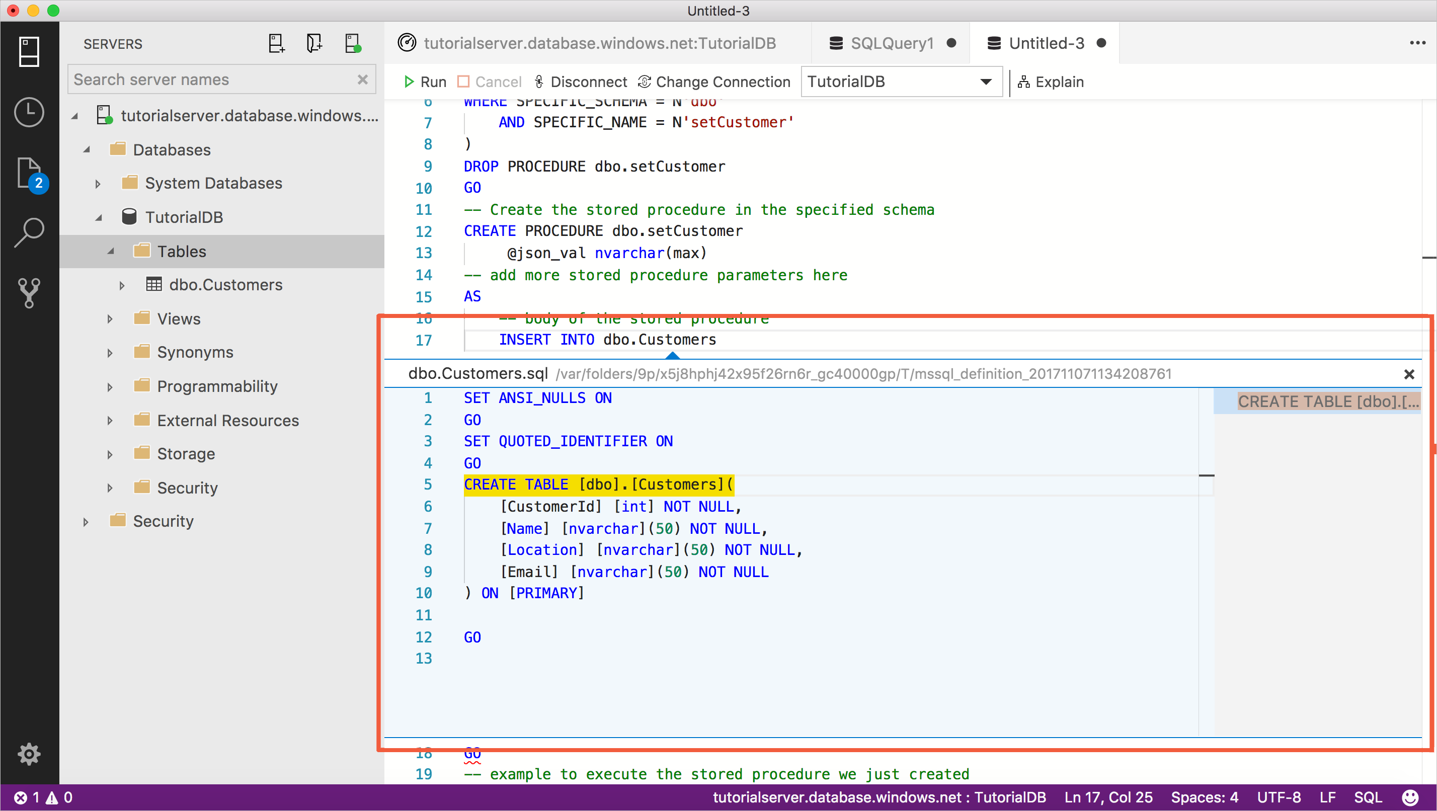 Tutorial Use The Sql Operations Studio Preview Transact