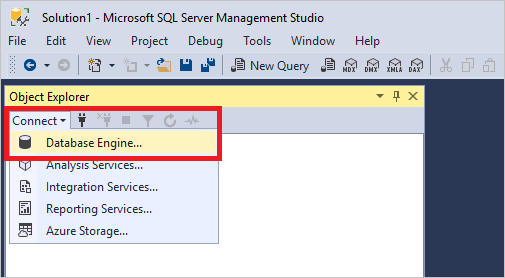 connect db engine - How To Get Object Explorer In Sql Server 2012