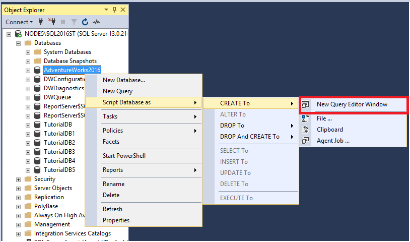 Tutorial: Script objects in SQL Server Management Studio