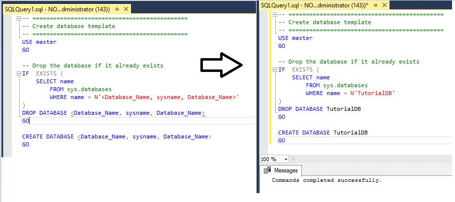 Tutorial: Using templates in SQL Server Management Studio ...