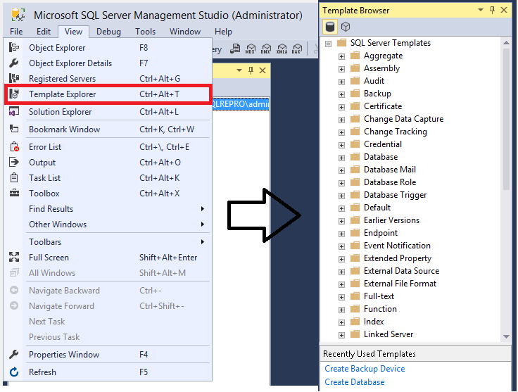 Tutorial Using Templates In Sql Server Management Studio Sql