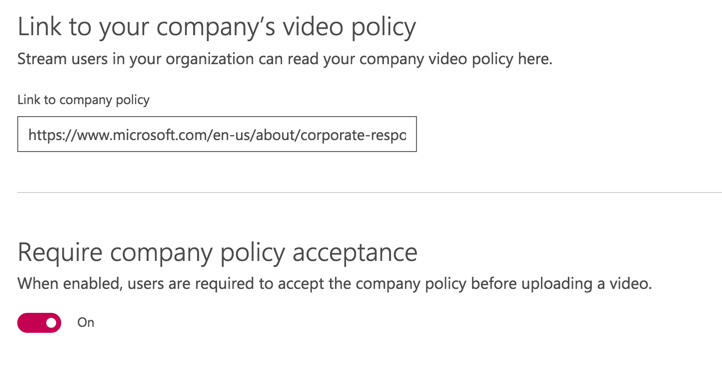 Adding company guidelines and employee consent in Microsoft Stream ...
