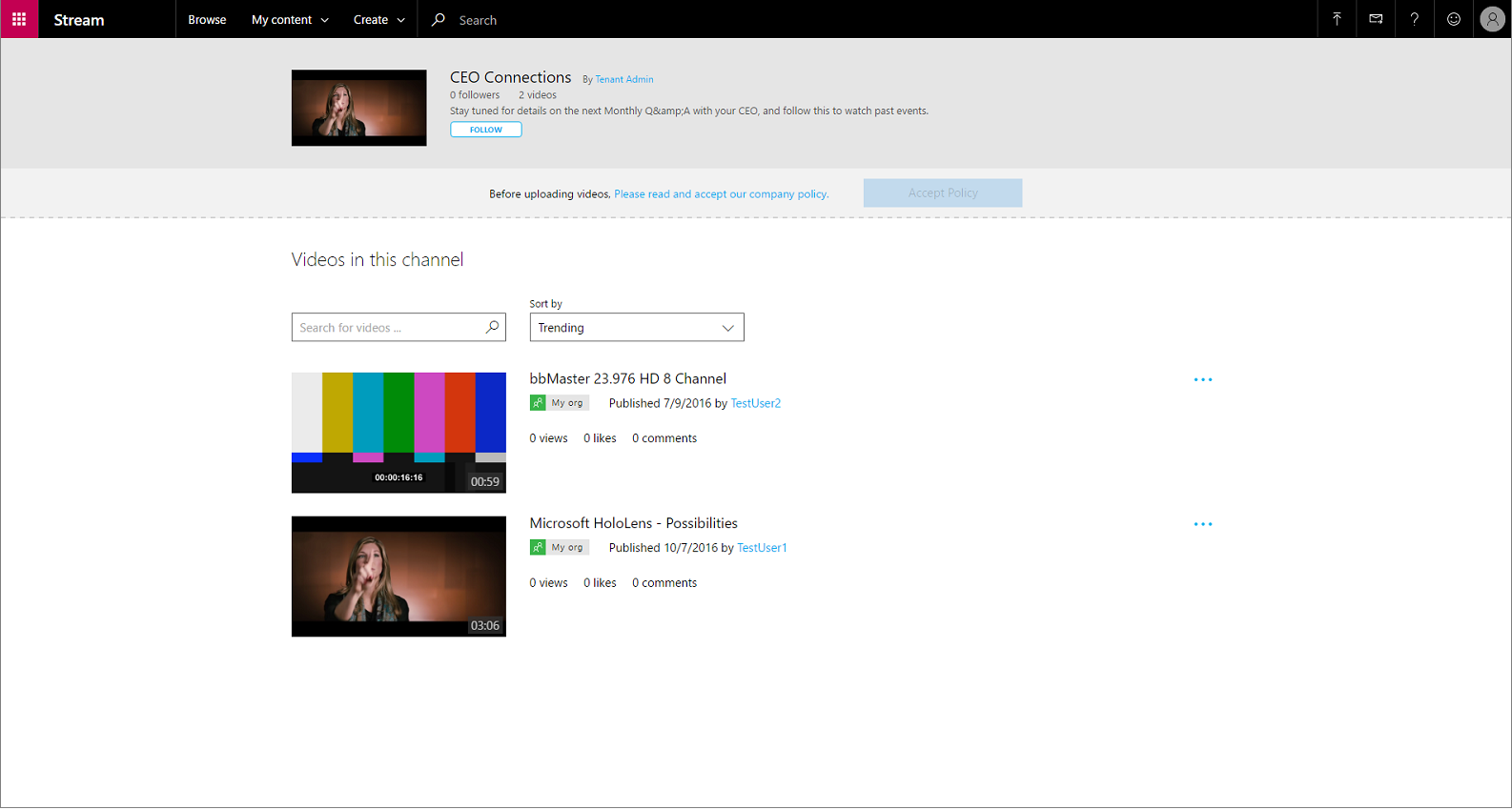 Adding company guidelines and employee consent in Microsoft Stream – Company Policy