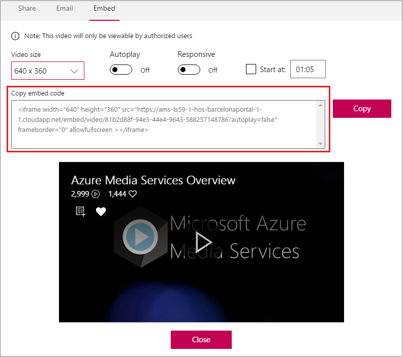 Embed Microsoft Stream videos in other apps | Microsoft Docs