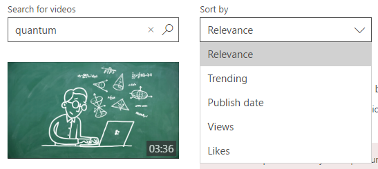 Search results sort by