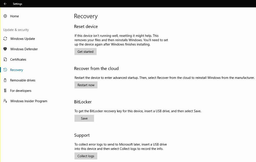 Reset or recover a Surface Hub | Microsoft Docs