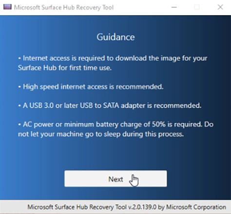 Using the Surface Hub Recovery Tool | Microsoft Docs