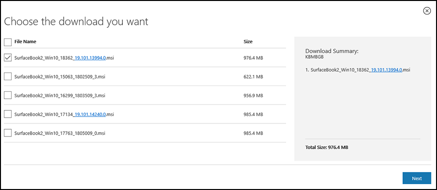 Figure 1. Downloading Surface updates