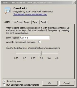 Ventana principal de ZoomIt donde se preenta la pestaña para configurar la tecla de ZoomIt y el nivel de ampliación inicial.