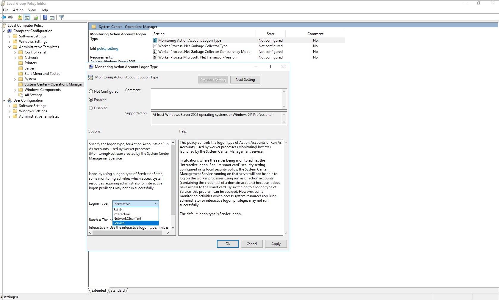 Enable service logon | Microsoft Docs