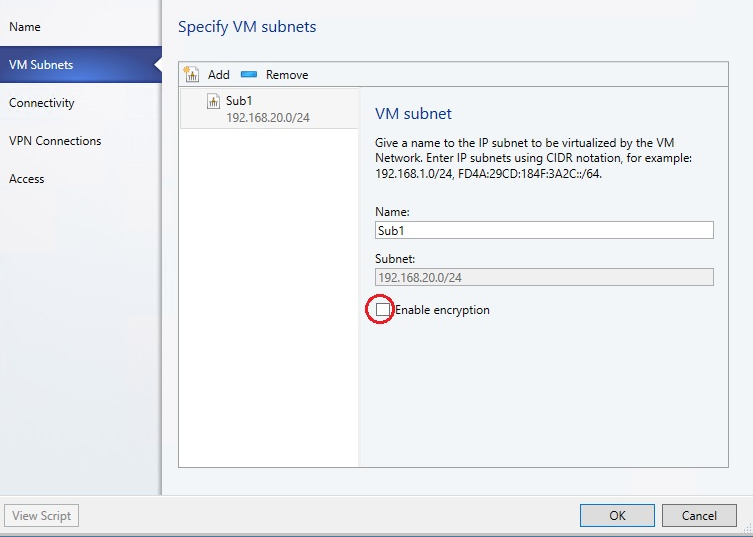 Configure encrypted networks in System Center Virtual