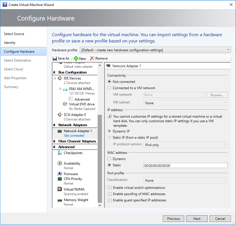 Provision and manage virtual machines in the VMM fabric