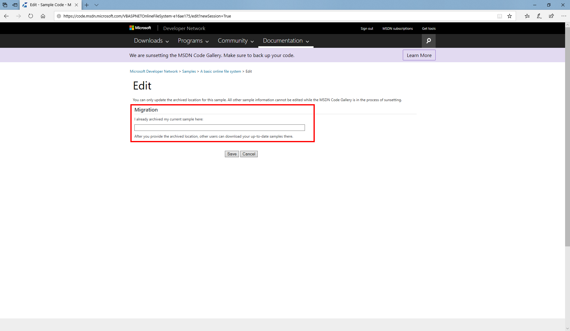 MSDN Code Gallery edit sample page migration section
