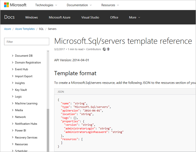 Azure Resource Manager template reference now available – Template Reference