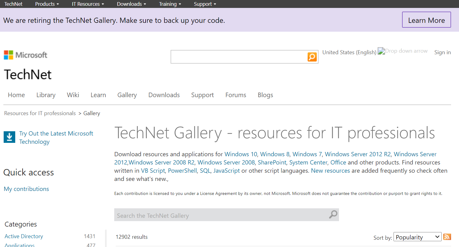 TechNet Code Gallery retirement announcement banner