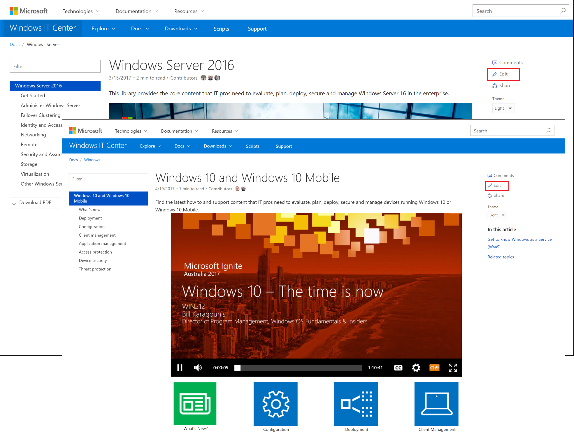 windows server 2016 and windows 10 it pro docs are now on