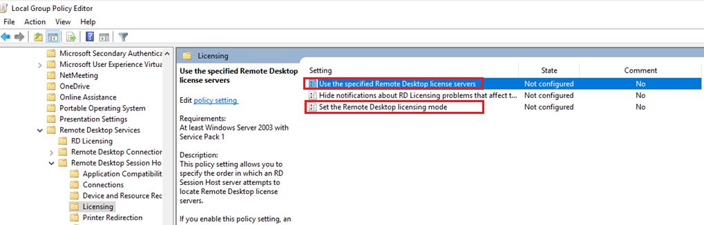 List of policies for Remote Desktop licensing