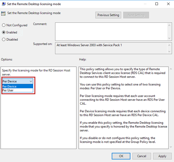 Policy settings for Remote Desktop licensing mode