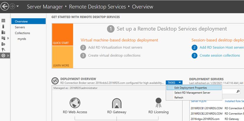Remote Desktop licensing settings in Server Manager