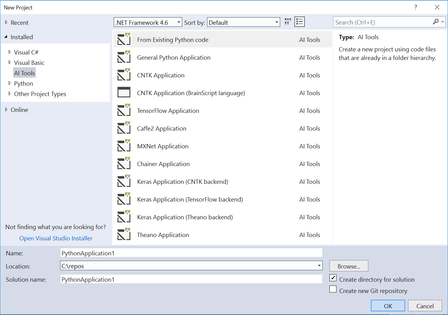 Create an AI project from a template in Visual Studio - Visual ...