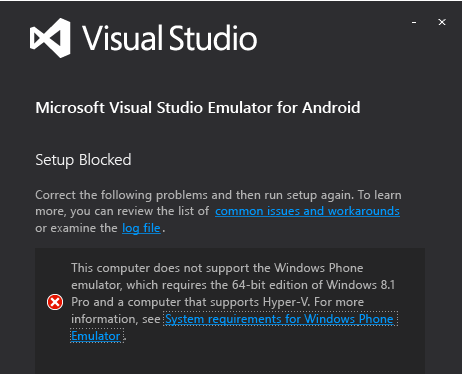 visual studio emulator for android install apk