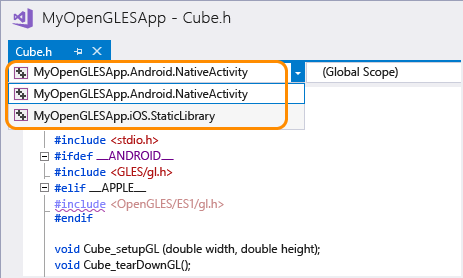 Build an OpenGL ES Application on Android and iOS - Visual Studio