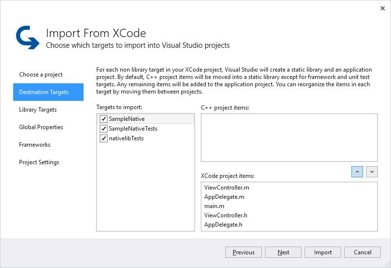 Import an XCode Project - Visual Studio | Microsoft Docs