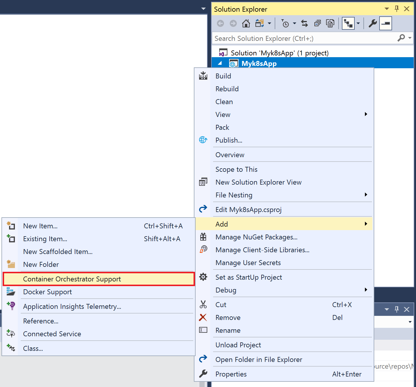Screenshot of adding container orchestrator support to an existing project