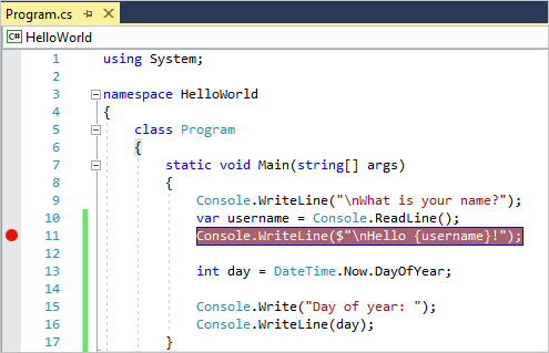 Breakpoint on line of code in Visual Studio