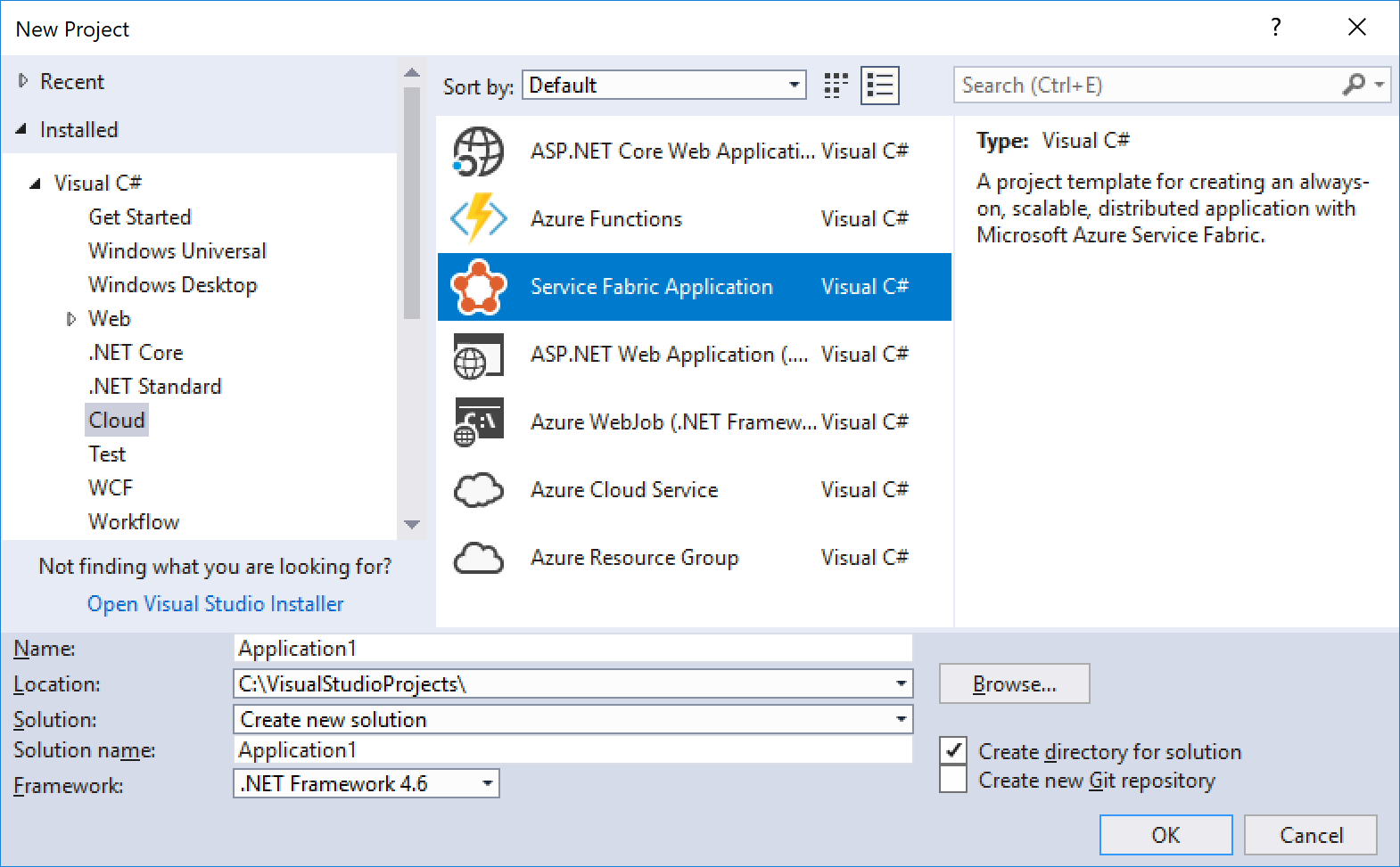 Cloud project templates for Visual Studio
