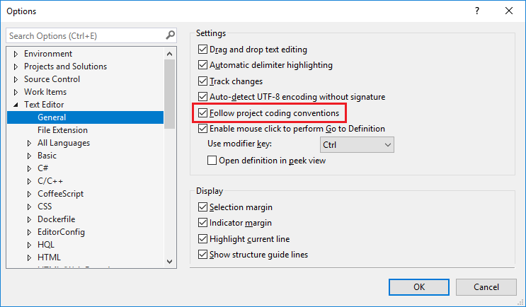 Editorconfig Settings Visual Studio Microsoft Docs