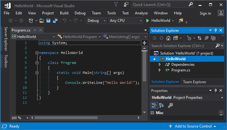 Use Visual Studio to create your first C# console app ...