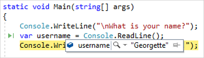 Variable value during debugging in Visual Studio