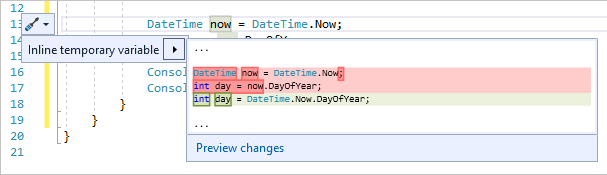 Inline temporary variable refactoring in Visual Studio