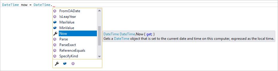 Visual Studio Member List