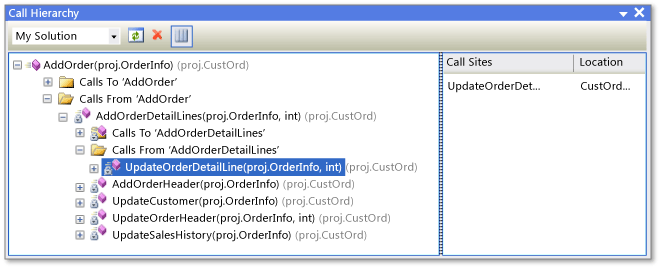 View Code Structure Using Class View Call Hierarchy Object Browser