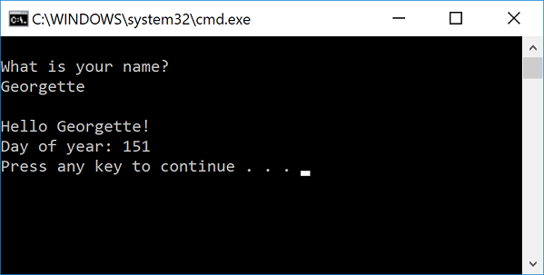 Console window with program output