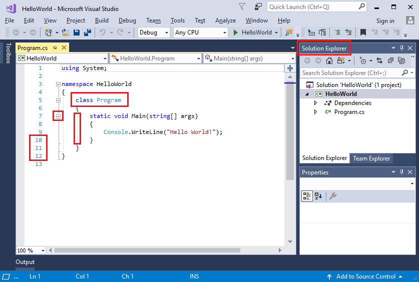 Visual Studio IDE with red boxes