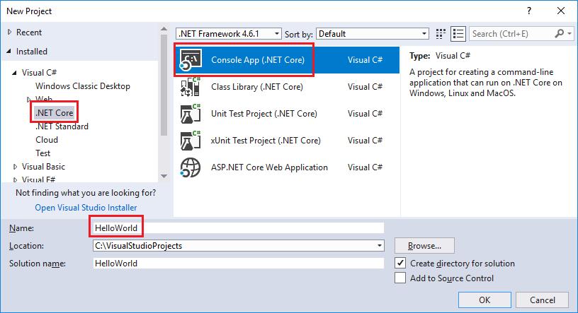 .NET Core app template