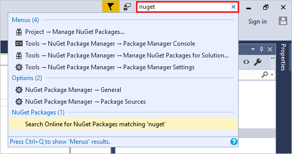 Quick Launch search box in Visual Studio
