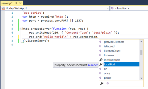 Quickstart: Use Visual Studio to create your first Node js
