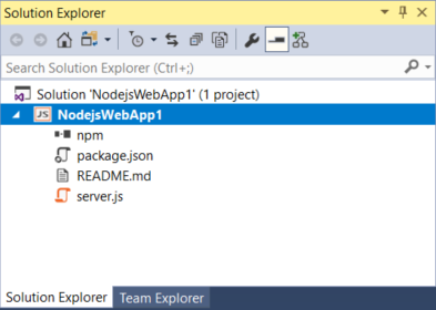 Quickstart: Use Visual Studio to create your first Node js app
