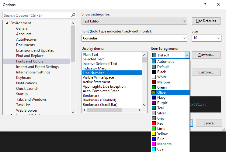 Set color theme and fonts in visual studio visual studio options dialog box fonts and colors category ccuart Gallery