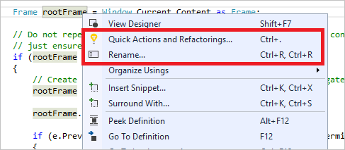 Refactoring in Visual Studio